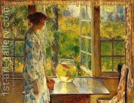 Bowl of Goldfish by Childe Hassam - Reproduction Oil Painting