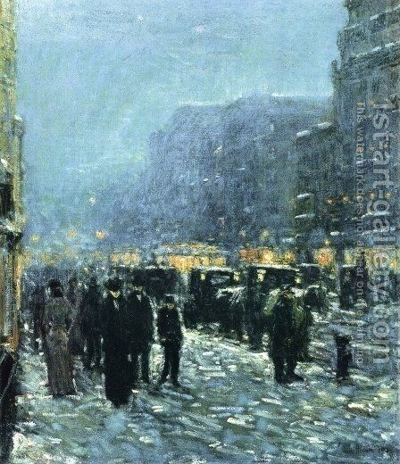 Broadway and 42nd Street by Childe Hassam - Reproduction Oil Painting
