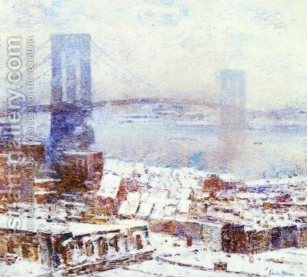 Brooklyn Bridge in Winter by Childe Hassam - Reproduction Oil Painting