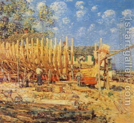 Building the Schooner, Provincetown by Childe Hassam - Reproduction Oil Painting