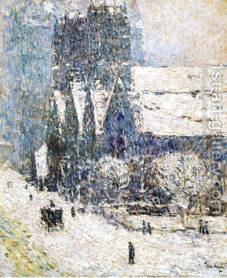 Calvary Church in the Snow by Childe Hassam - Reproduction Oil Painting