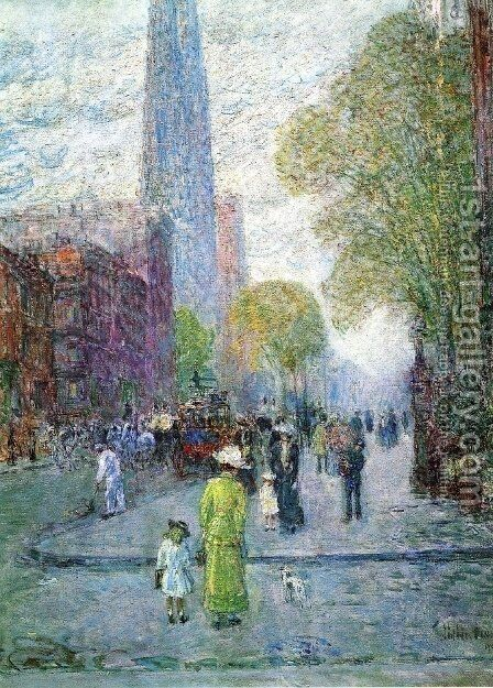 Cathedral Spires, Spring Morning by Childe Hassam - Reproduction Oil Painting