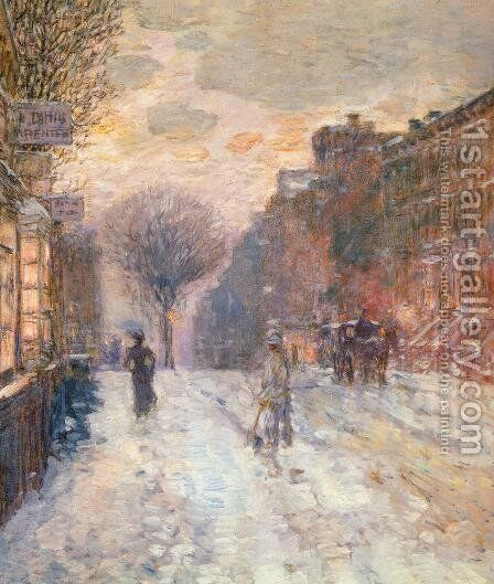 Early Evening, After Snowfall by Childe Hassam - Reproduction Oil Painting