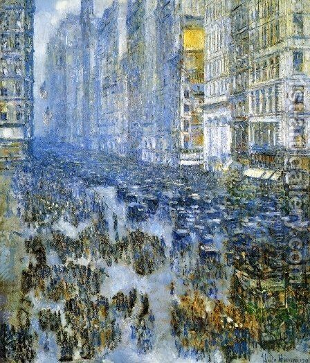 Fifth Avenue in Winter 2 by Childe Hassam - Reproduction Oil Painting