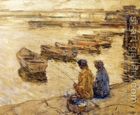 Fishing by Childe Hassam - Reproduction Oil Painting