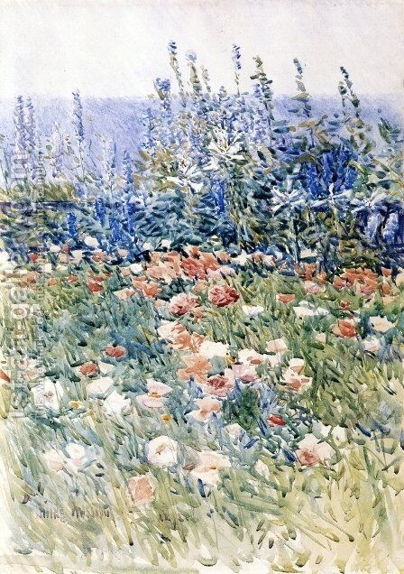 Flower Garden, Isles of Shoals by Childe Hassam - Reproduction Oil Painting