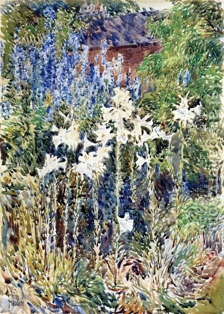 Flower Garden by Childe Hassam - Reproduction Oil Painting