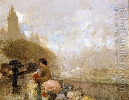 Flower Girl by the Seine, Paris by Childe Hassam - Reproduction Oil Painting