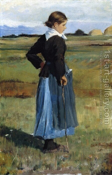 French Peasant Girl by Childe Hassam - Reproduction Oil Painting