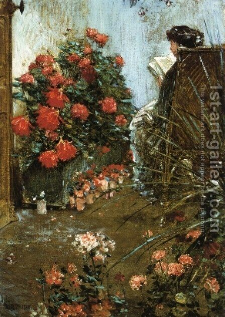 In the Garden at Villers-le-Bel by Childe Hassam - Reproduction Oil Painting