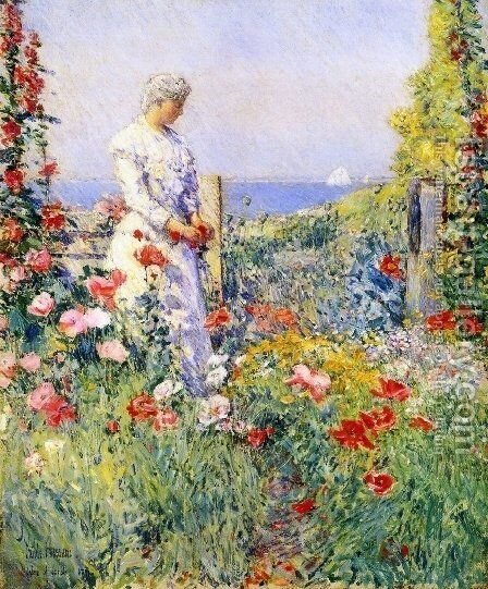 In the Garden by Childe Hassam - Reproduction Oil Painting