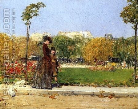 In the Park, Paris by Childe Hassam - Reproduction Oil Painting