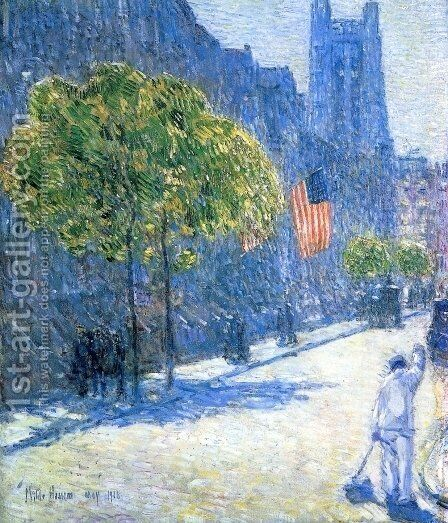 Just Off the Avenue, Fifty-Third Stret, May, 1916 by Childe Hassam - Reproduction Oil Painting