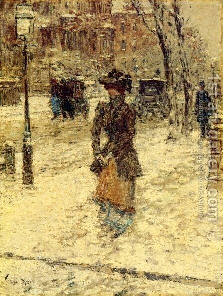 Lady Walking down Fifth Avenue by Childe Hassam - Reproduction Oil Painting