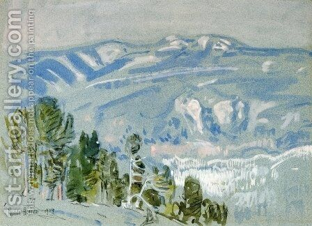 Looking towards Mount Adams from Mount Hood by Childe Hassam - Reproduction Oil Painting