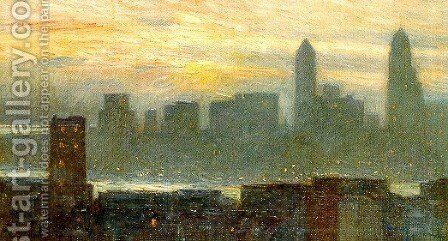 Manhattan's Misty Sunset, 1911 by Childe Hassam - Reproduction Oil Painting