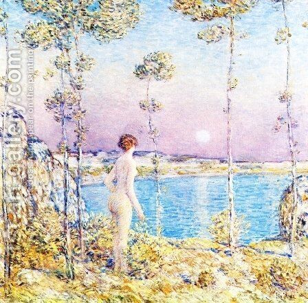 Moonrise at Sunset 2 by Childe Hassam - Reproduction Oil Painting