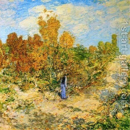 New England Road by Childe Hassam - Reproduction Oil Painting