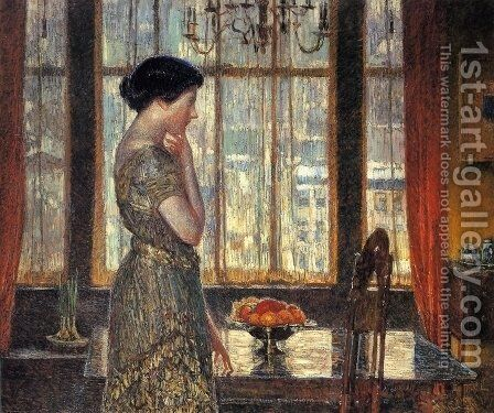 New York Winter Window by Childe Hassam - Reproduction Oil Painting
