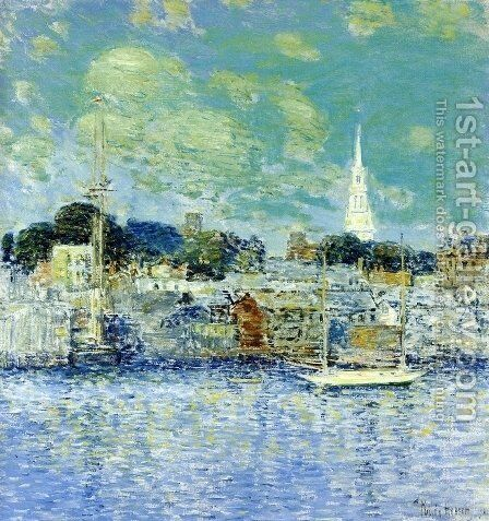 Newport Waterfront by Childe Hassam - Reproduction Oil Painting