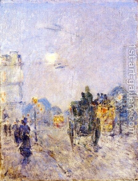 Nocturne, Hyde Park Corner by Childe Hassam - Reproduction Oil Painting
