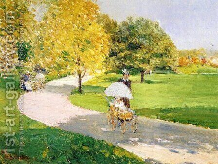 Nurses in the Park by Childe Hassam - Reproduction Oil Painting