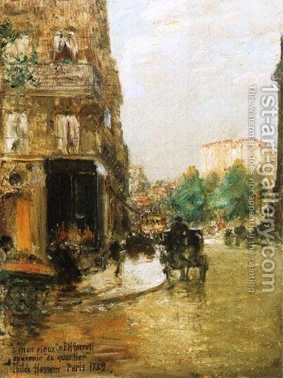 Paris Street Scene by Childe Hassam - Reproduction Oil Painting