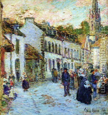 Pont-Aven, Evening by Childe Hassam - Reproduction Oil Painting
