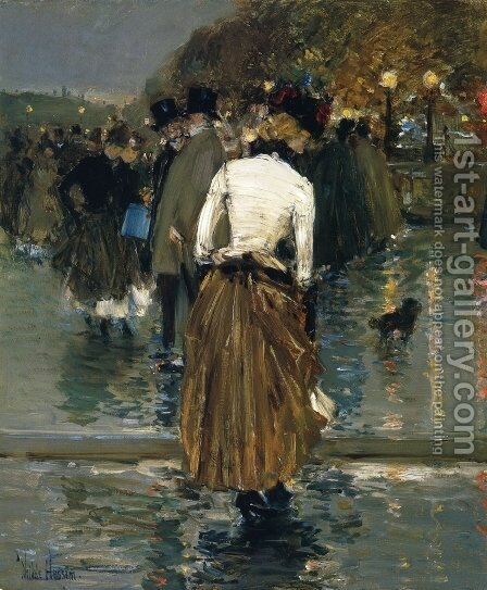 Promenade at Sunset, Paris by Childe Hassam - Reproduction Oil Painting