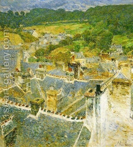 Rooftops, Pont-Aven by Childe Hassam - Reproduction Oil Painting