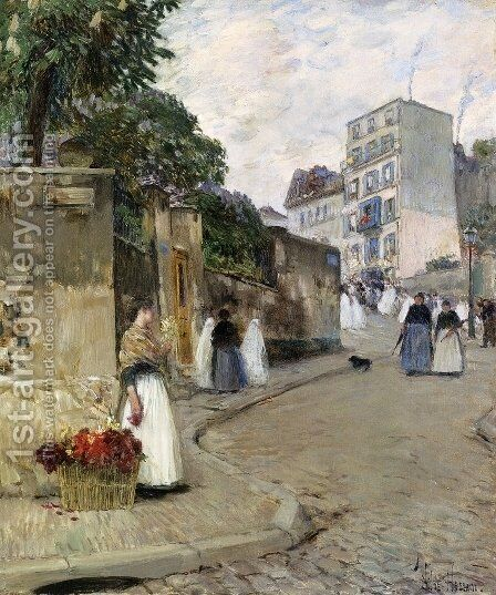 Rue Montmartre, Paris by Childe Hassam - Reproduction Oil Painting