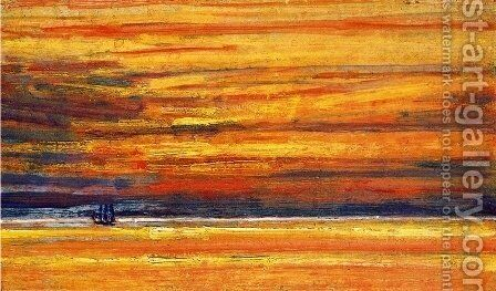 Sailing Vessel at Sea, Sunset by Childe Hassam - Reproduction Oil Painting
