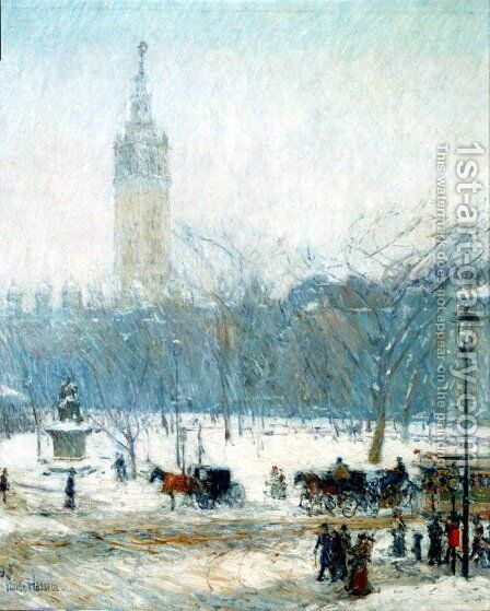 Snowstorm Madison Square by Childe Hassam - Reproduction Oil Painting