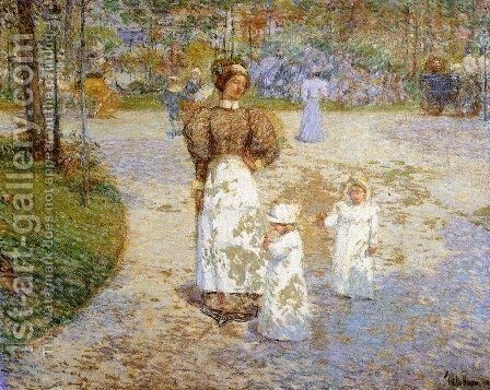 Spring in Central Park by Childe Hassam - Reproduction Oil Painting