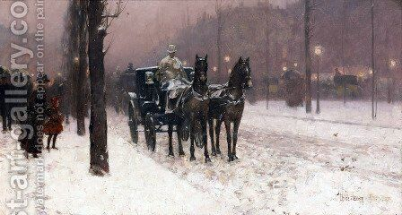 Street Scene with Hansom Cab by Childe Hassam - Reproduction Oil Painting