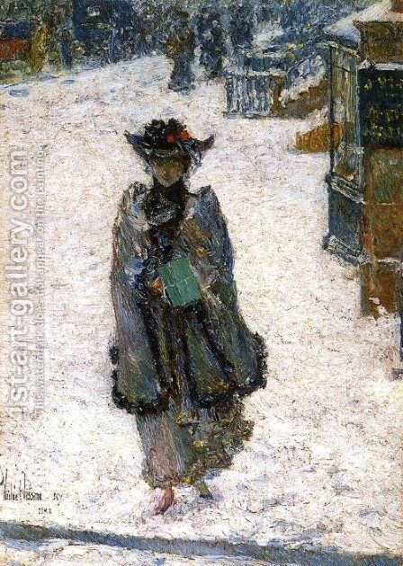 Street Scene, Christmas Morning by Childe Hassam - Reproduction Oil Painting