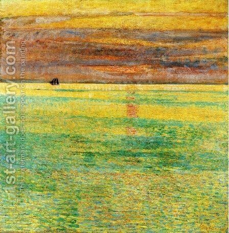 Sunset at Sea by Childe Hassam - Reproduction Oil Painting