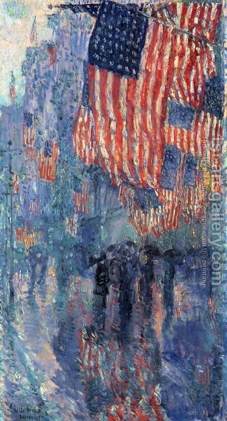 The Avenue in the Rain by Childe Hassam - Reproduction Oil Painting