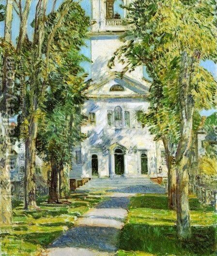 The Church at Gloucester by Childe Hassam - Reproduction Oil Painting