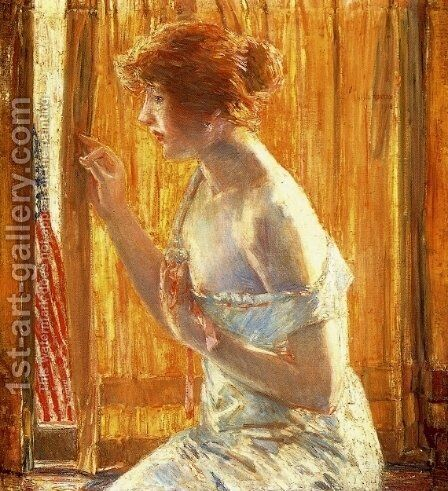 The Flag Outside Her Window, April 1918 by Childe Hassam - Reproduction Oil Painting