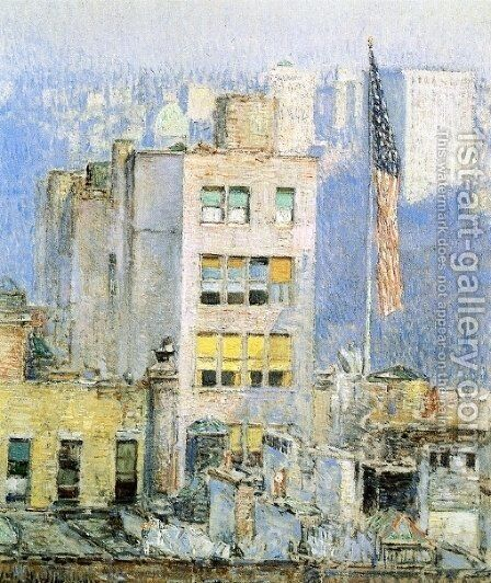 The Flag, Fifth Avenue by Childe Hassam - Reproduction Oil Painting