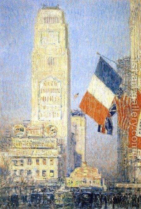The New York Bouquet, West Forty-Second Street by Childe Hassam - Reproduction Oil Painting