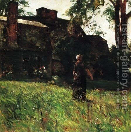 The Old Fairbanks House, Dedham, Massachusetts by Childe Hassam - Reproduction Oil Painting