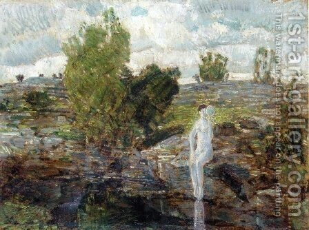 The Quarry Pool, Folly Cove, Cape Ann by Childe Hassam - Reproduction Oil Painting