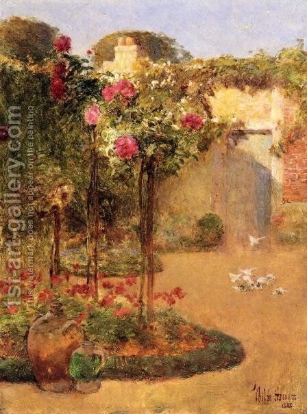 The Rose Garden by Childe Hassam - Reproduction Oil Painting