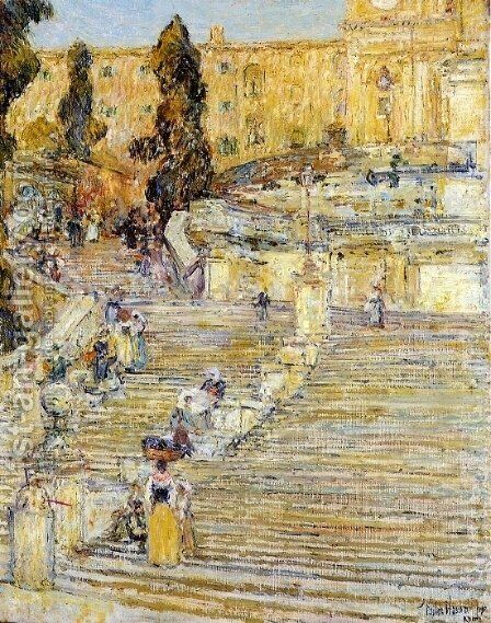 The Spanish Steps, Rome by Childe Hassam - Reproduction Oil Painting