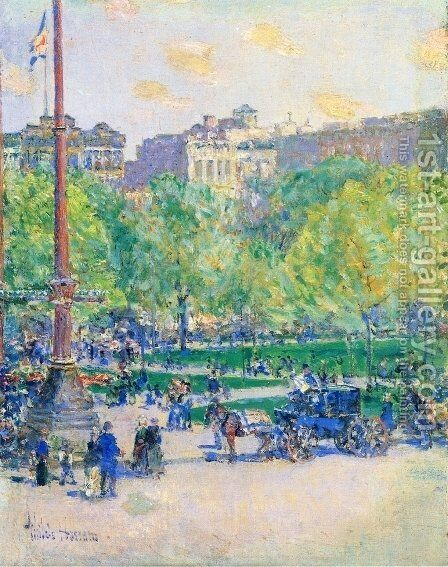 Union Square 2 by Childe Hassam - Reproduction Oil Painting