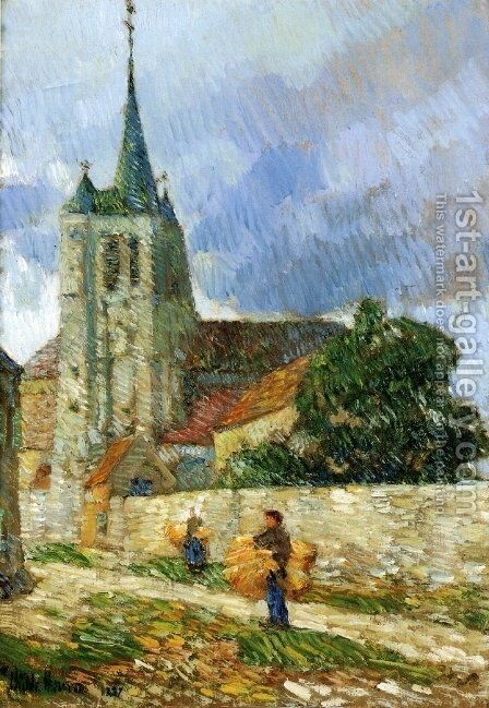 Village Scene, Breton by Childe Hassam - Reproduction Oil Painting