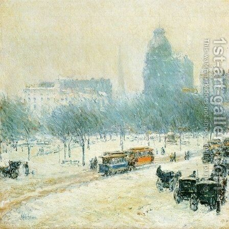 Winter in Union Square by Childe Hassam - Reproduction Oil Painting