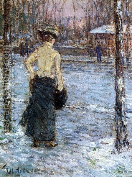 Winter, Central Park by Childe Hassam - Reproduction Oil Painting
